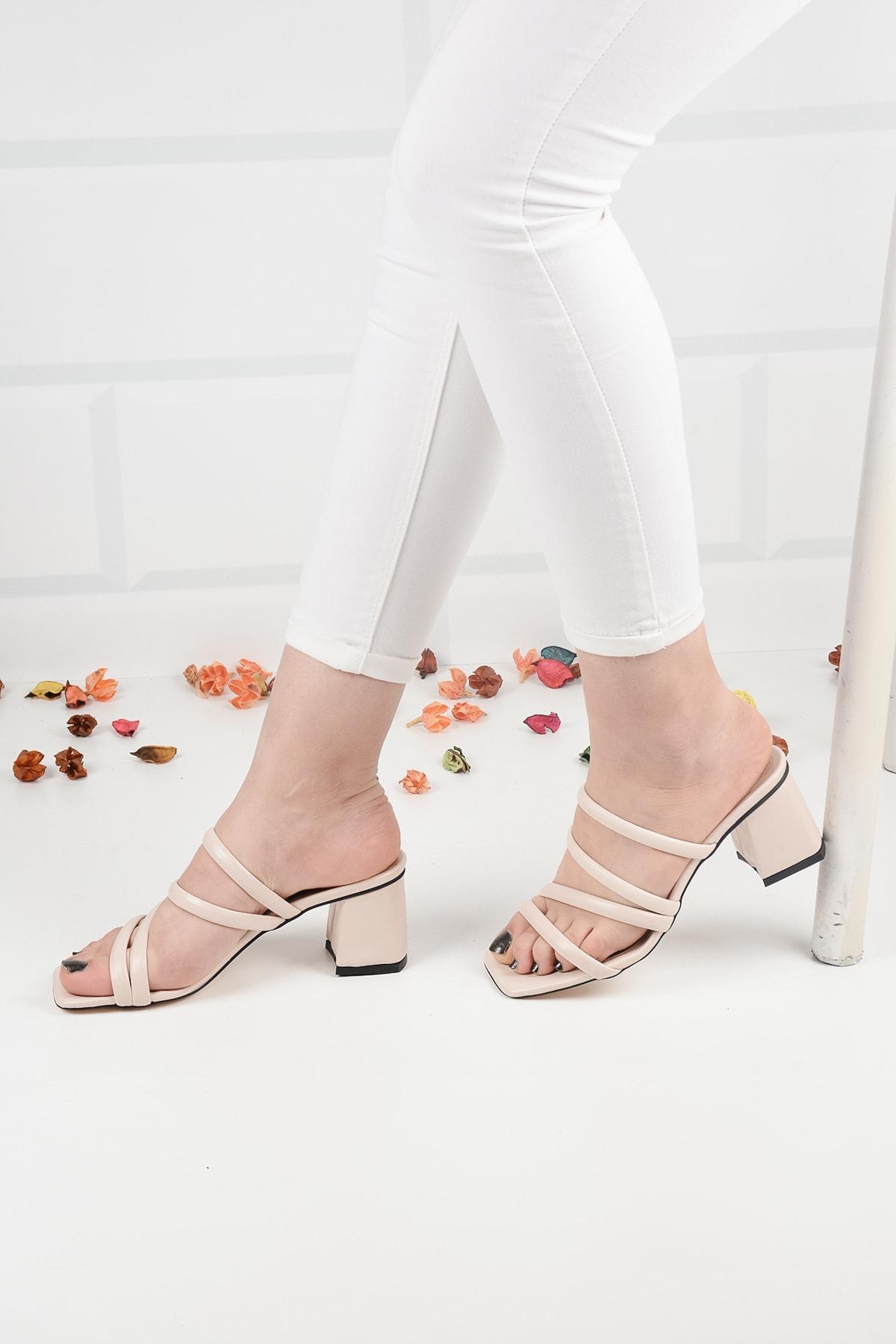 Kadın Bej Deri Topuklu Terlik Sandalet Ba20888