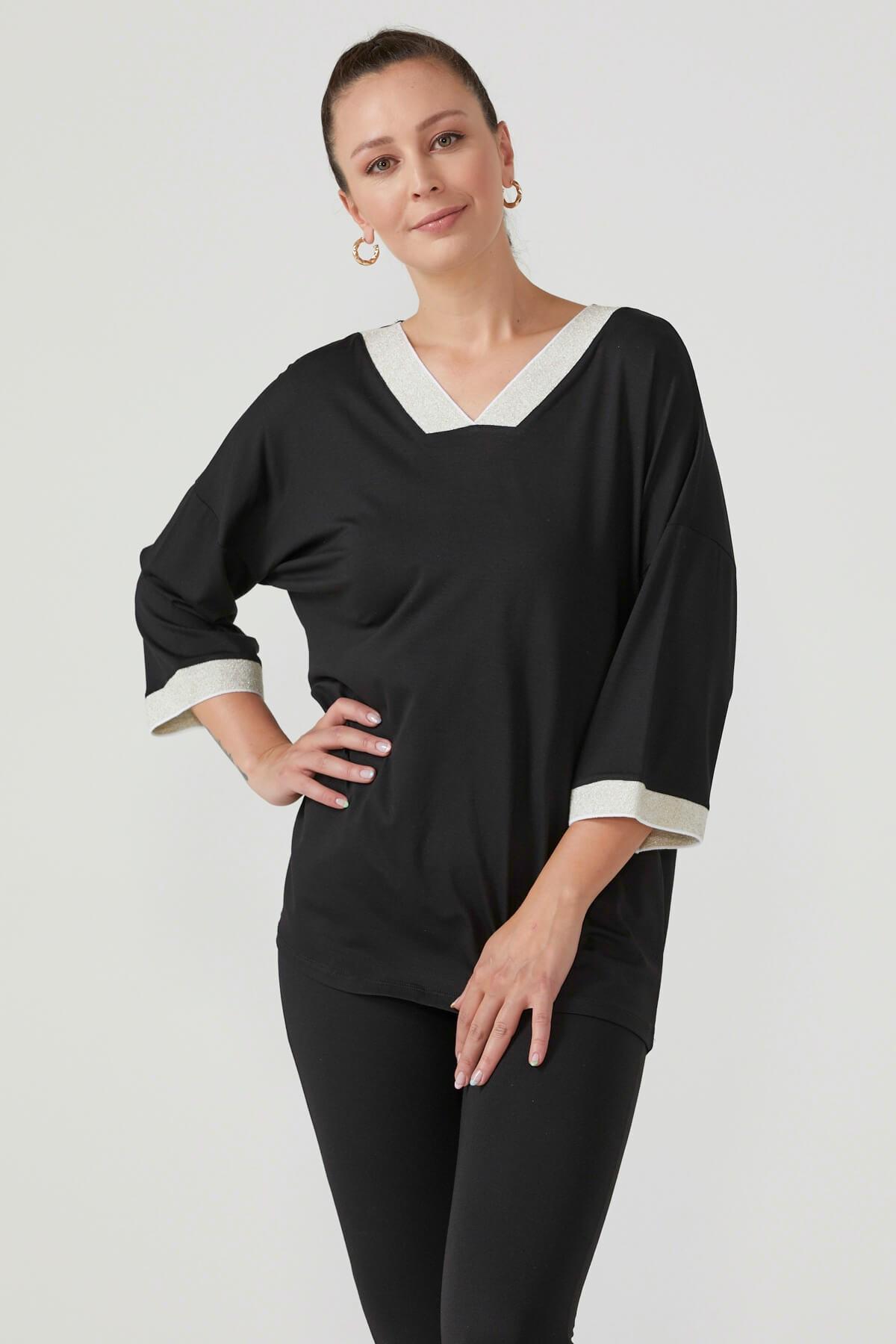 Triko Yaka Kadın Bluz - Siyah