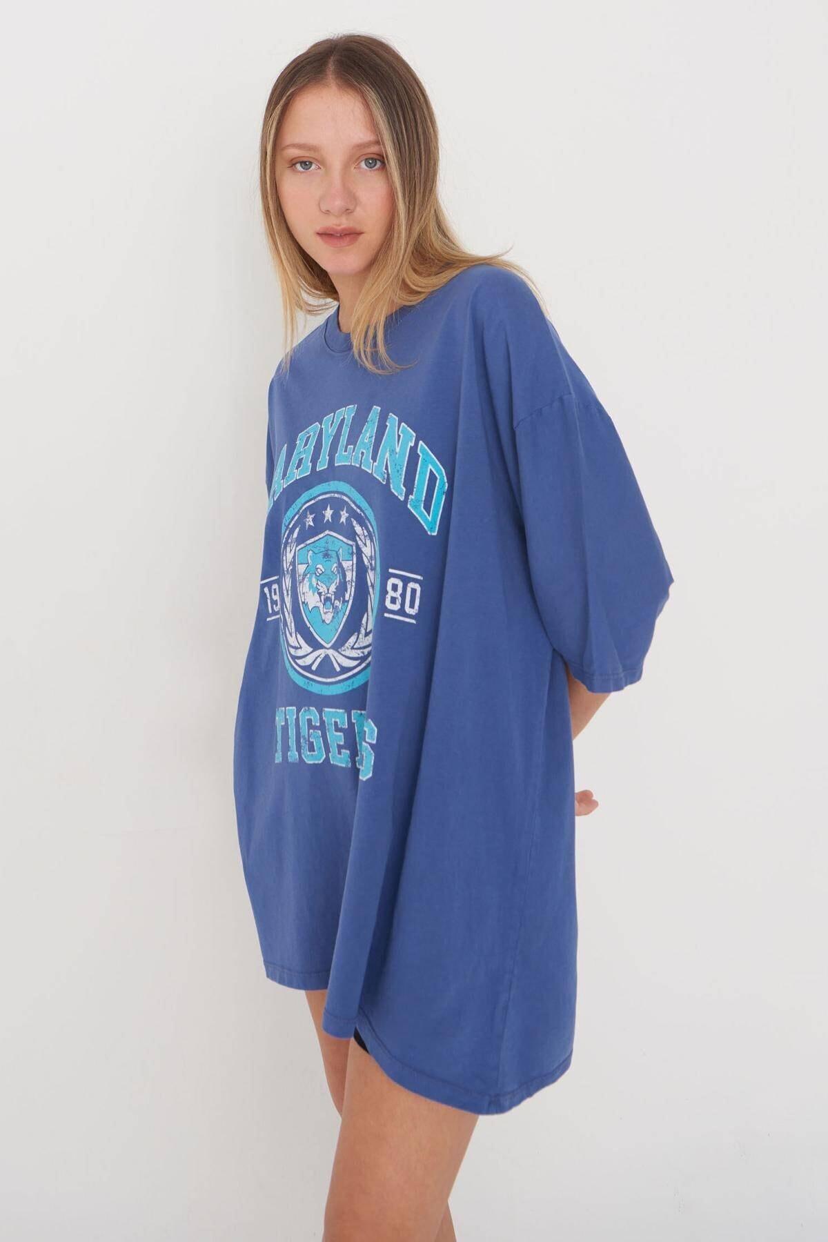 Baskılı Oversize T-shirt P9546 - D8