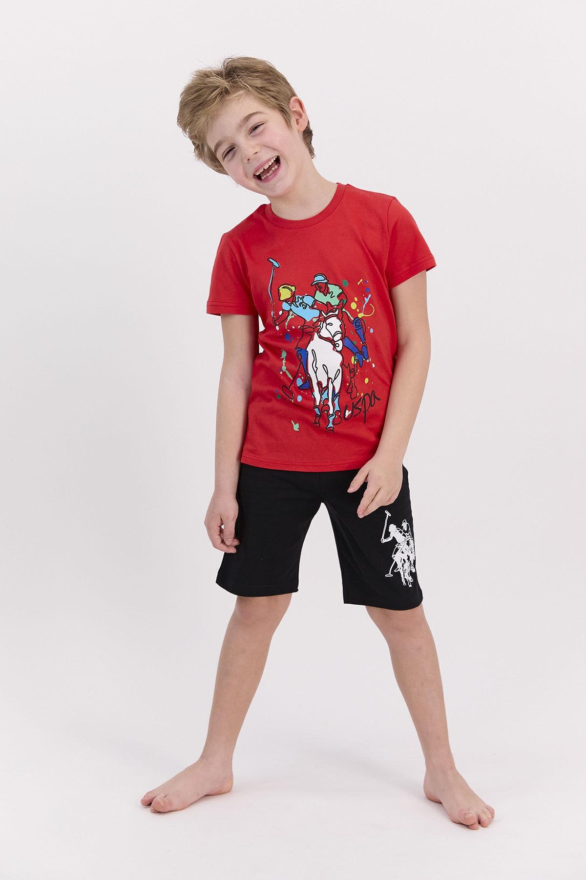 U.s. Polo Assn Lisanslı Kırmızı Erkek Çocuk Bermuda Takım