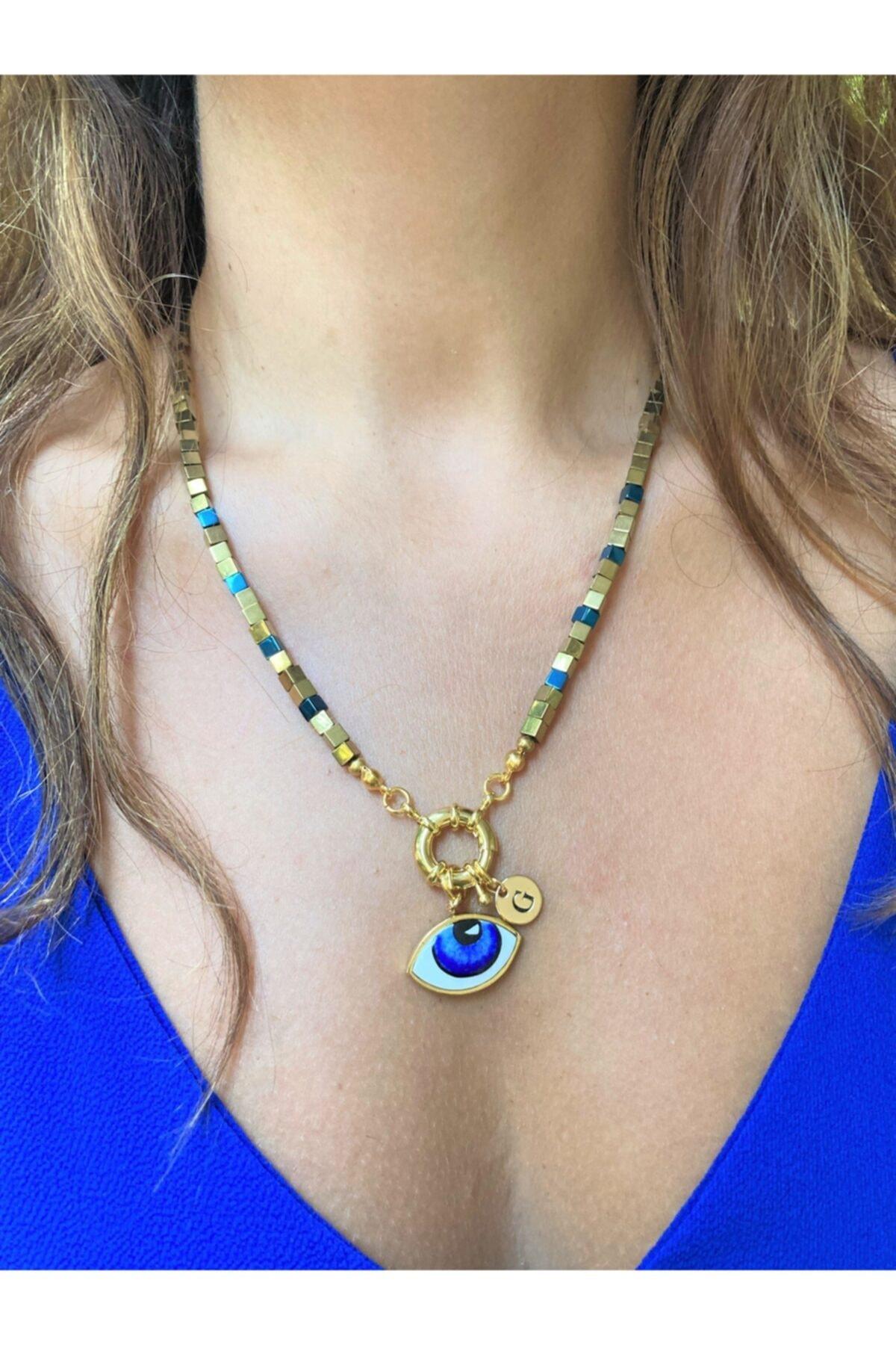 Kadın Mavi Göz Detaylı Gold Ve Lacivert Küp Hematit Kolye