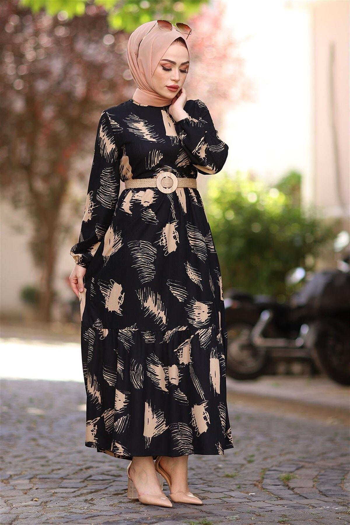 Fırça Desen Kemerli Elbise - Siyah