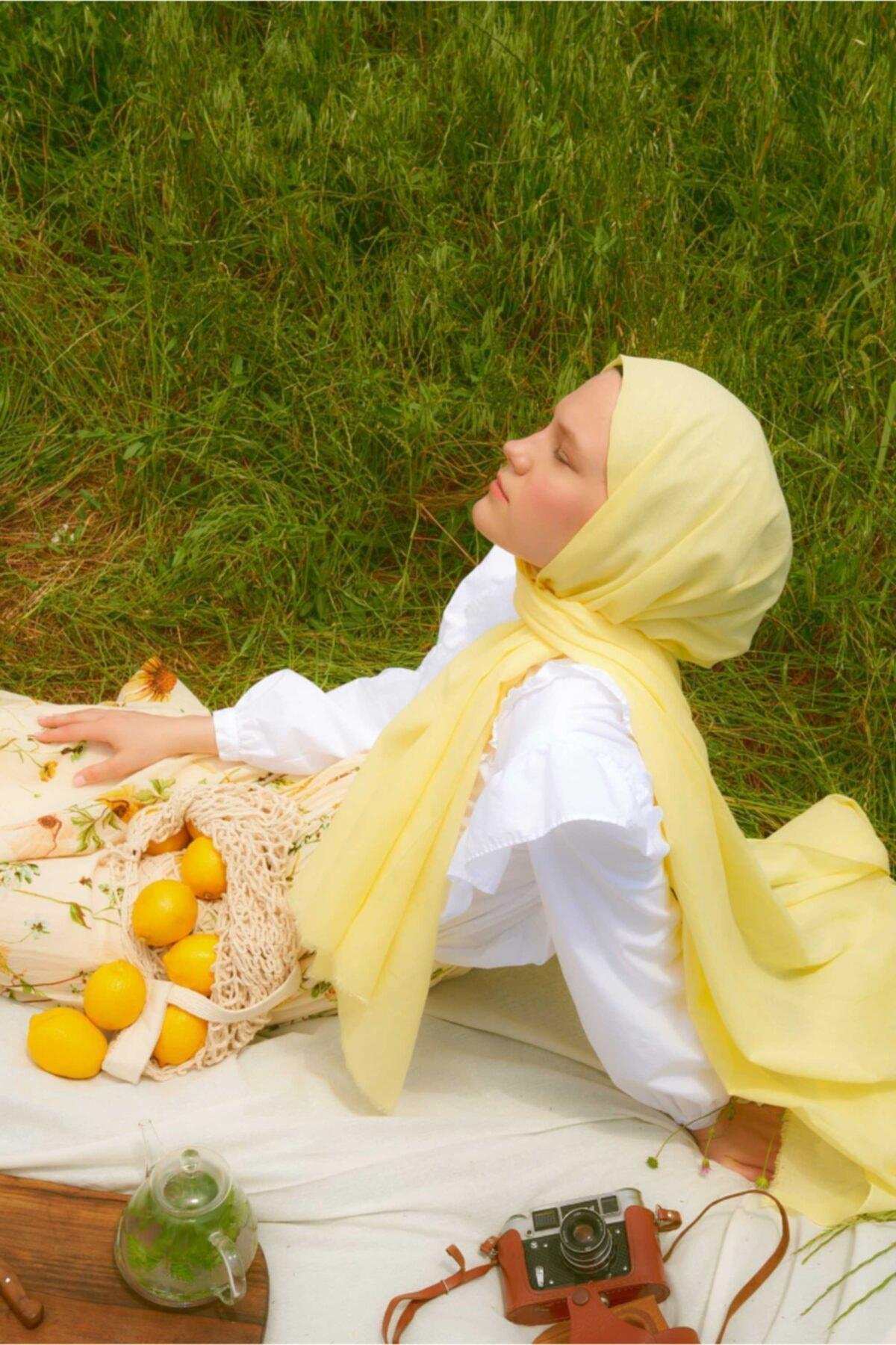 Pamuk Vual Şal Limon - 91