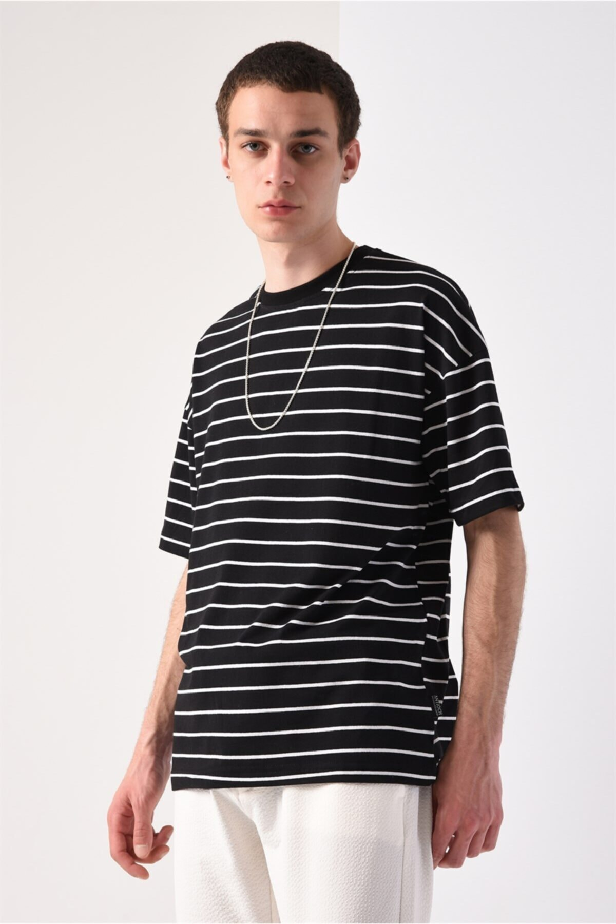 Men Siyah Oversize Çizgili T-shirt