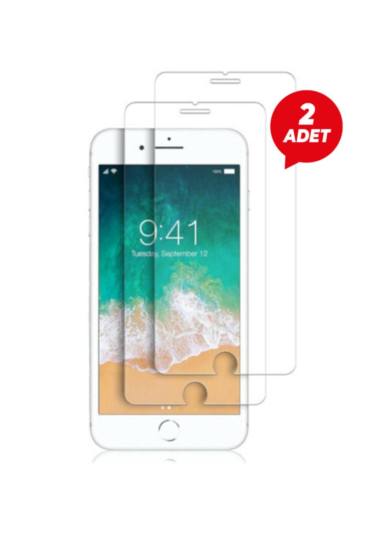Iphone 7 Plus 8 Plus Uyumlu Temperli Şeffaf Kenarlı Ekran Koruyucu Kırılmaz Telefon Camı 2'li Paket