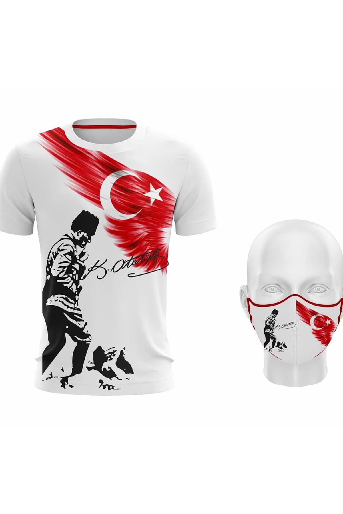 Unisex Mustafa Kemal Atatürk ve Türk Bayrağı Baskılı Beyaz T-shirt Ve Maske