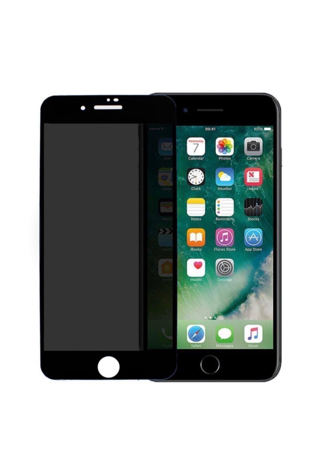 Iphone 7 Plus- 8 Plus 6d Kavisli Temperli Hayelet Ekran Koruyucu (renk - Siyah) Kırılmaz Cam
