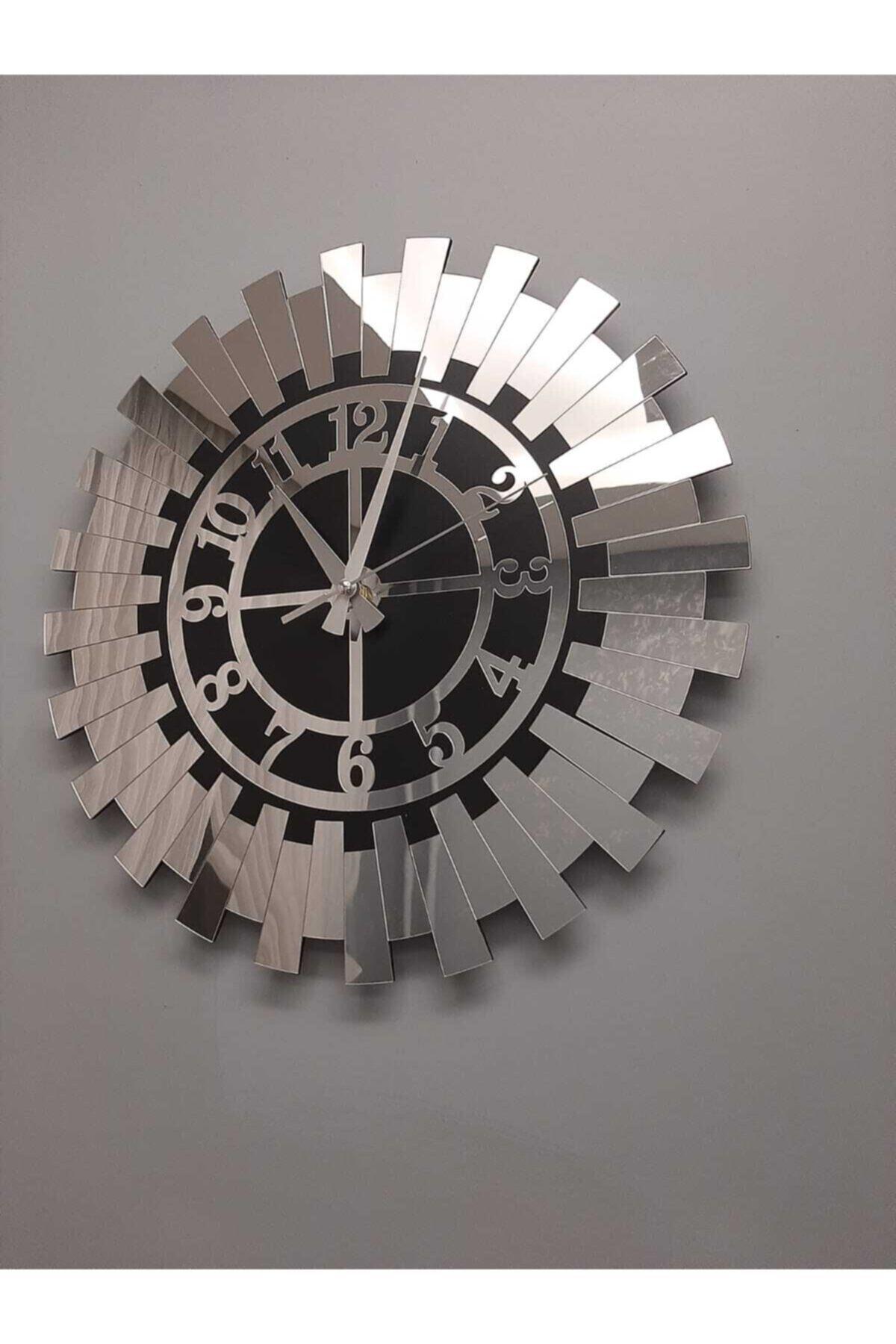 Modern Gümüş Güneş Duvar Saati Dekoratif Türk Rakamlı Mdf Üzeri Aynalı Pleksi 40x40 Cm