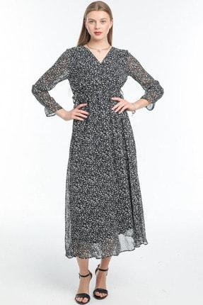 Mini Yaprak Detay Kruvaze Kuşaklı Elbise ELBISEDELISI-0068