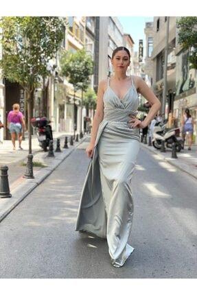 Kadın Yeşil Saten Abiye Elbise 0001