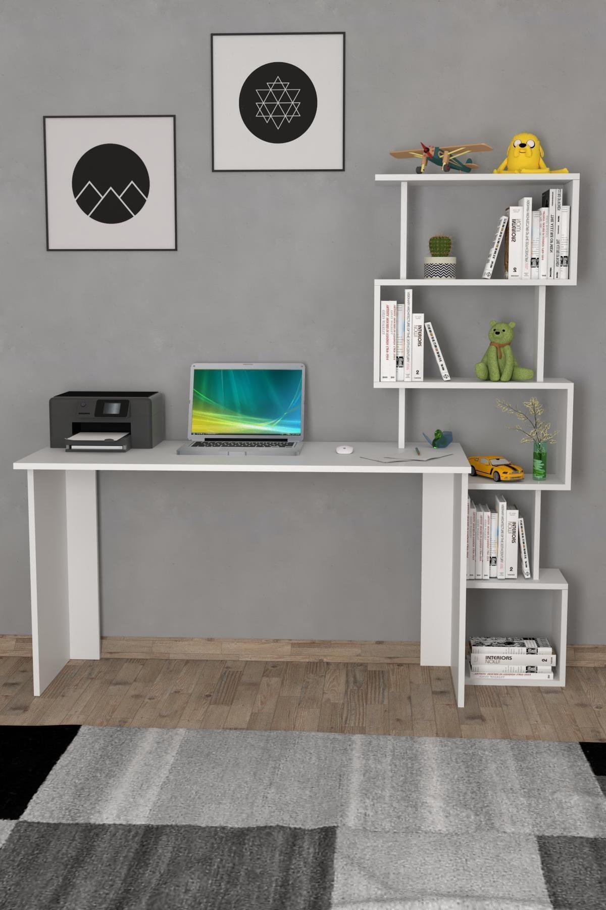 Yakamoz Kitaplıklı Çalışma Masası Beyaz