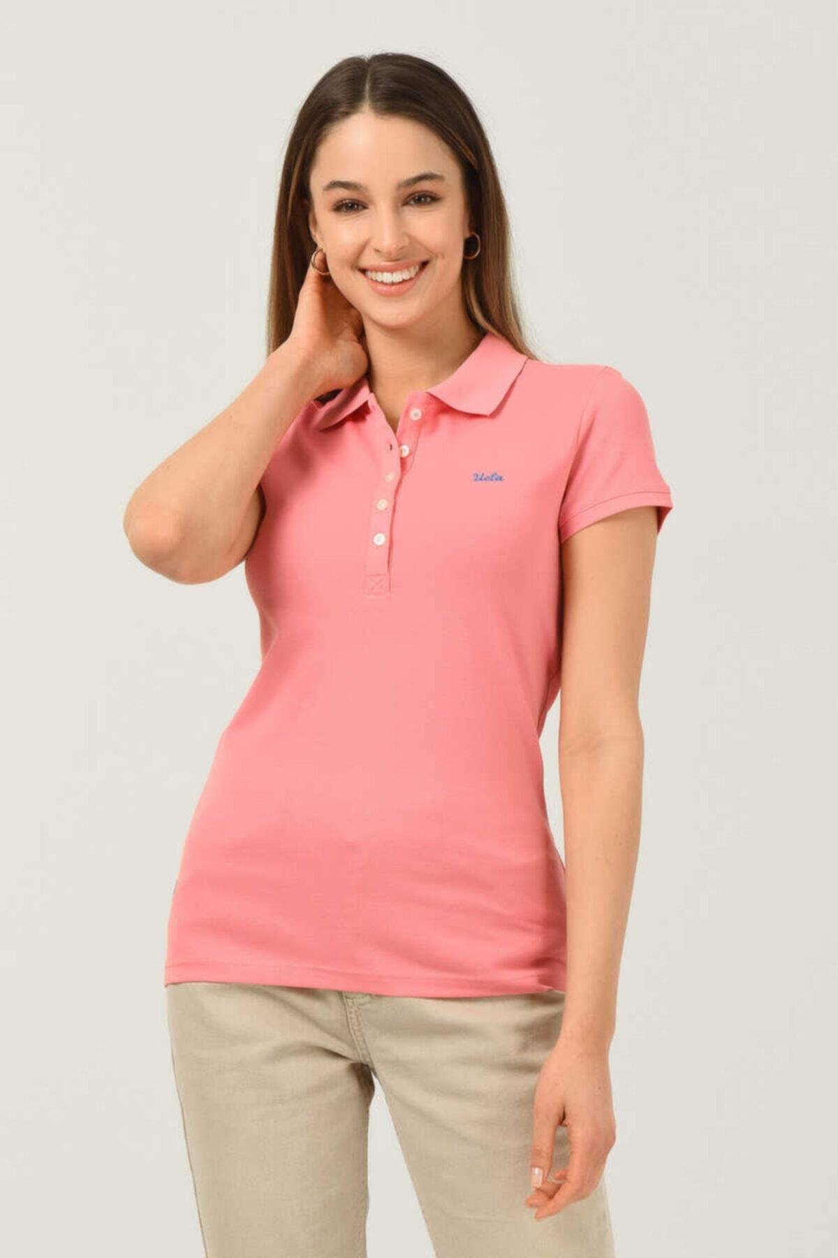 Shaver Pembe Polo Yaka Nakışlı Kadın Tshirt