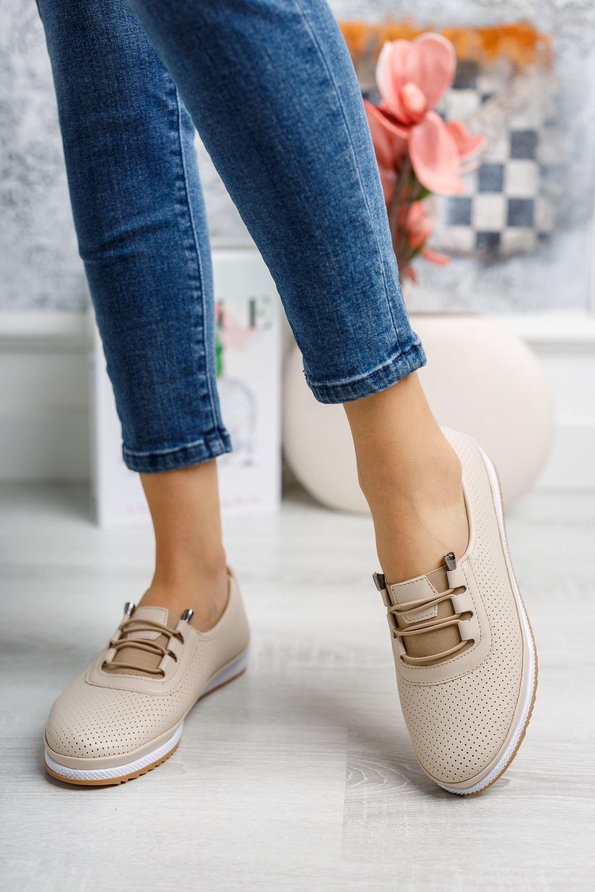 Ortopedik Taban Lazerli Krem Ayakkabı