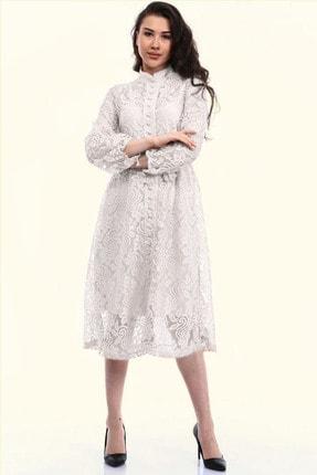 Beyaz Fransız Güpür Abiye Elbise ELBISEDELISI-1072