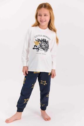 تصویر از 1428 Little Hoglet Krem Kız Çocuk Uzun Kol Pijama Takımı
