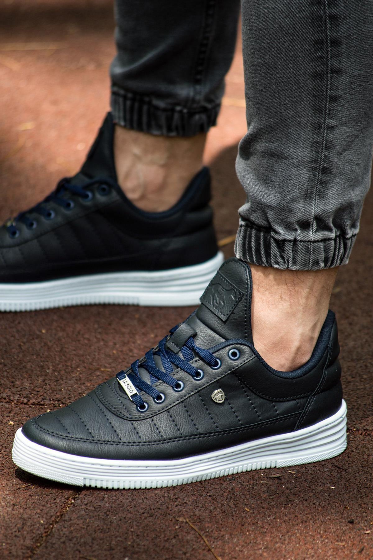 07 Dikişli Lacivert Beyaz Erkek Spor Ayakkabı