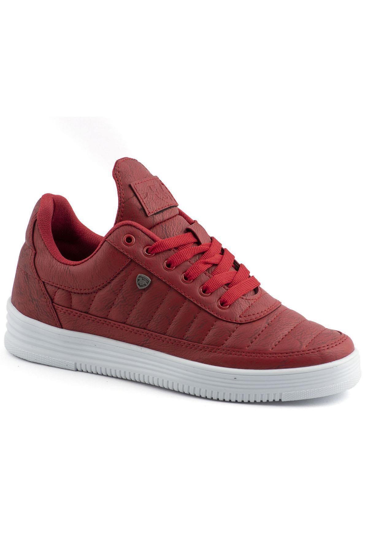 07 Kırmızı Beyaz Dikişli Unisex Spor Ayakkabı