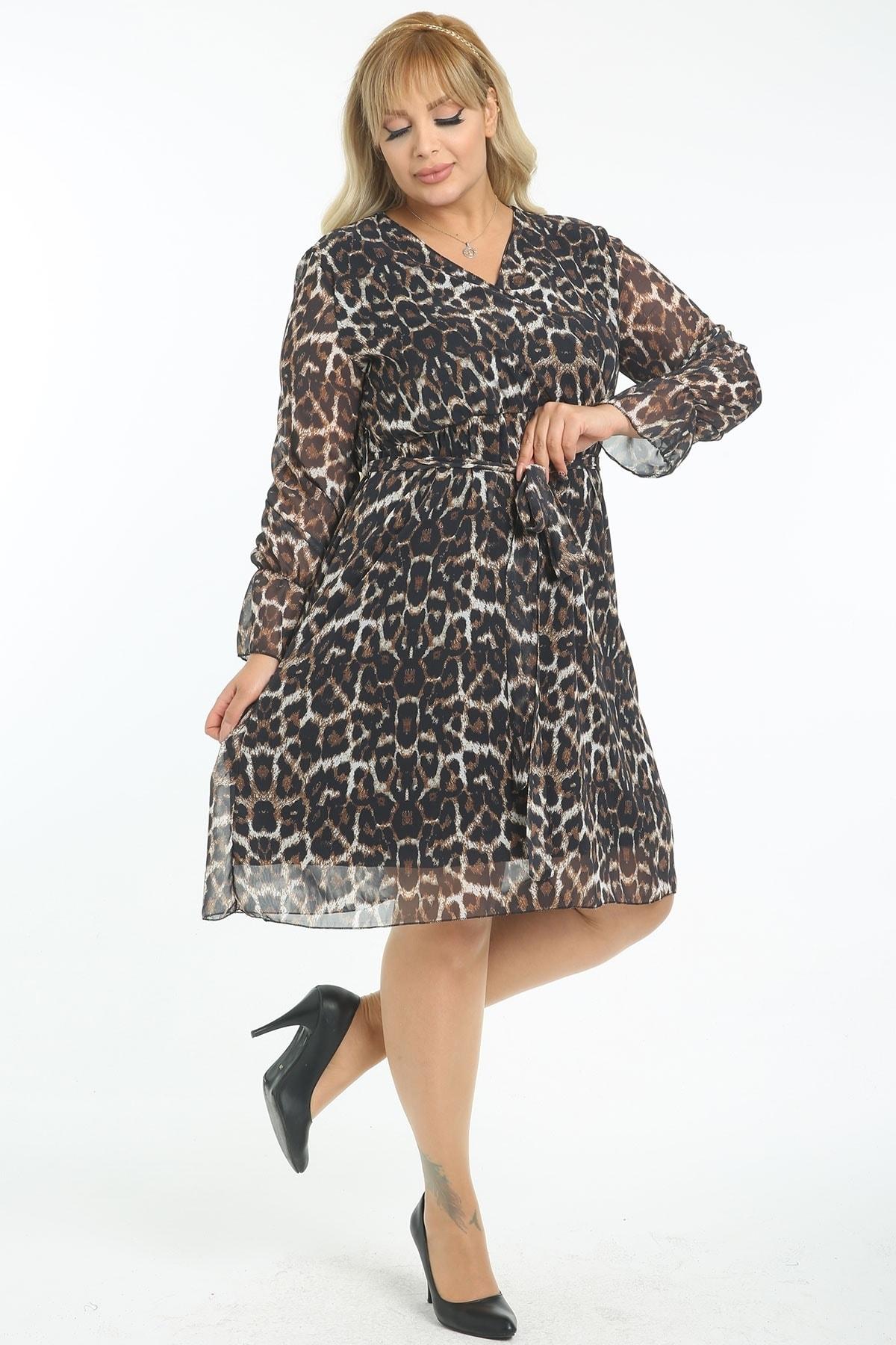 Kadın Büyük Beden Çok Renkli Kruvaze Yaka Astarlı Şifon Elbise