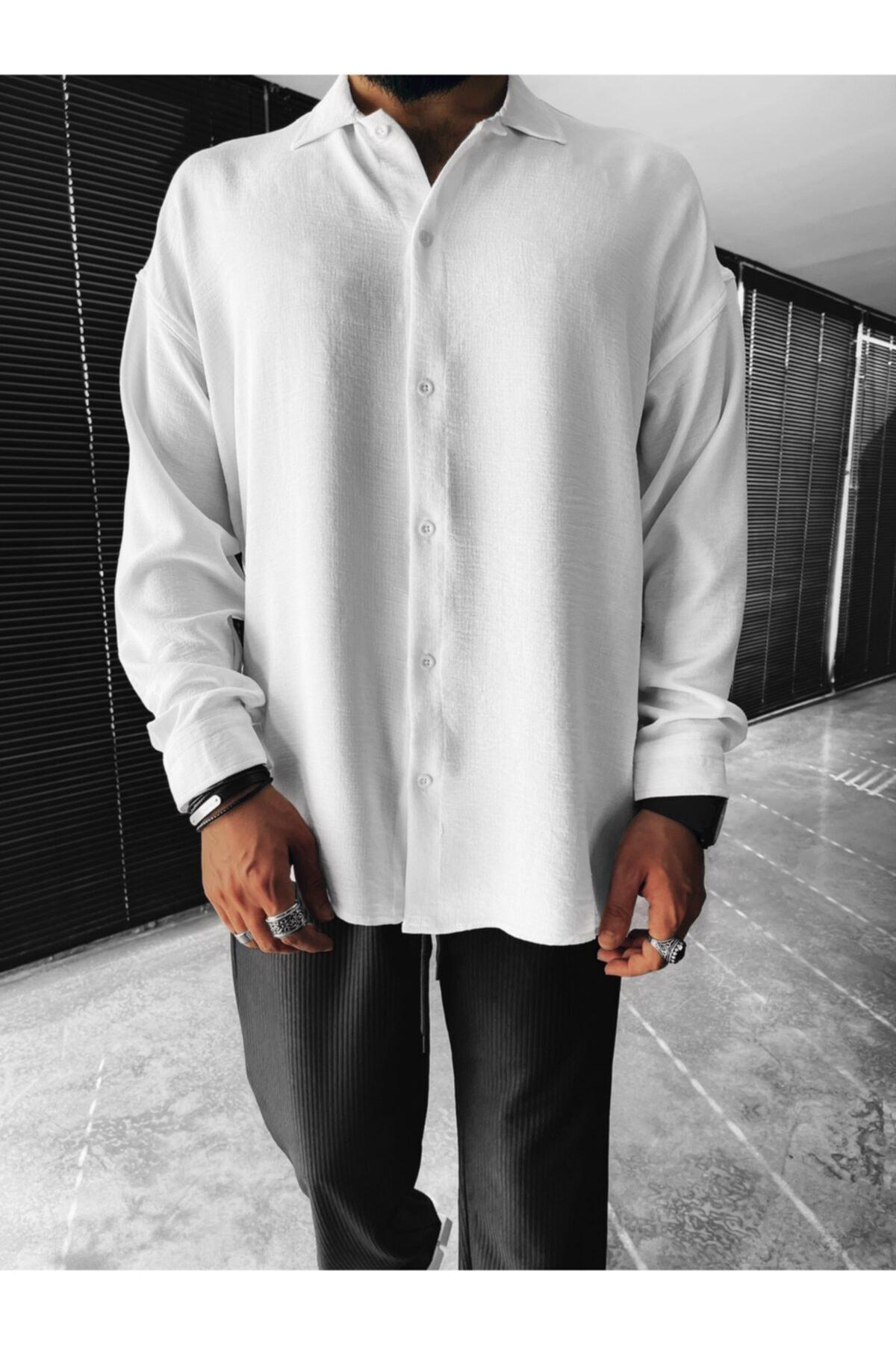Erkek Oversize Düğmeli Beyaz Gömlek