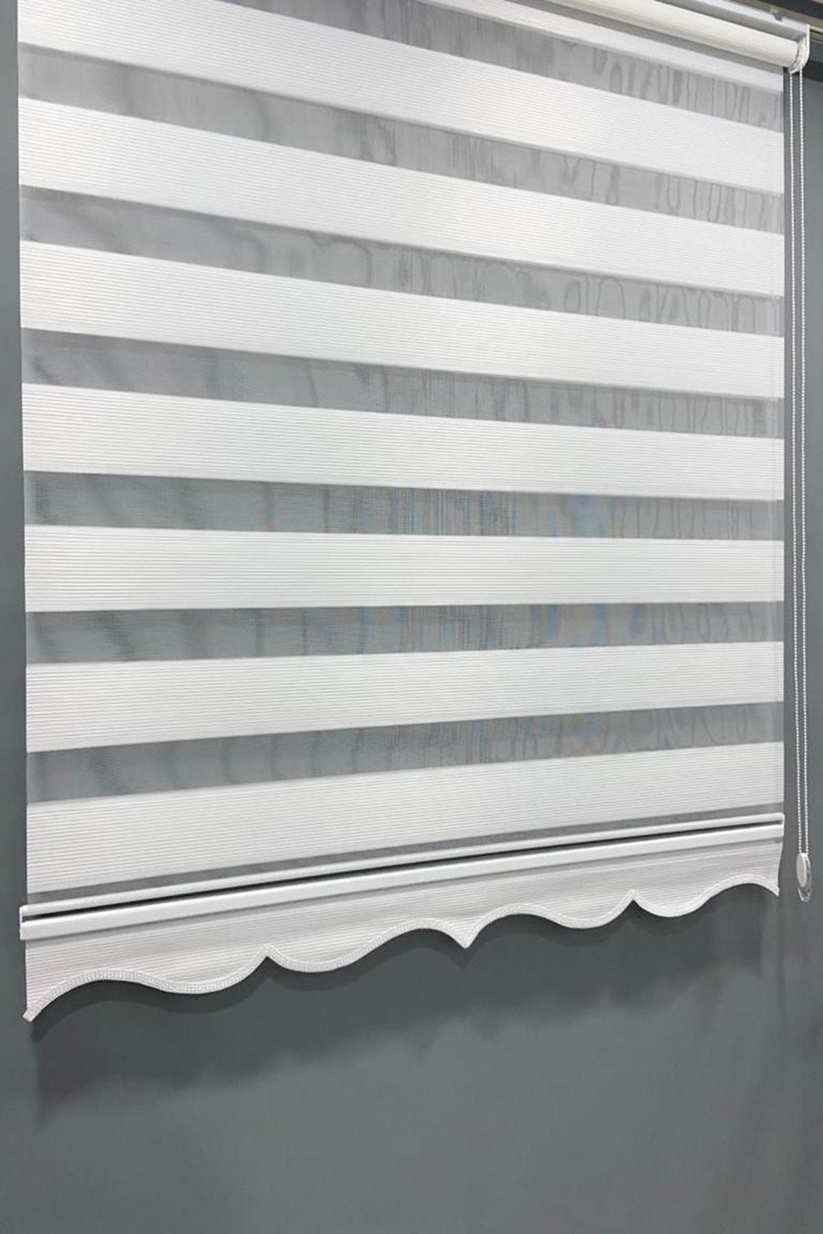 Stor Zebra Perde Mikro Plise Beyaz Etek Dilimli