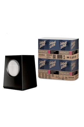Domi Peçete Dispenseri Siyah+ Dispenser Peçete 250'li Dispenser+peçete