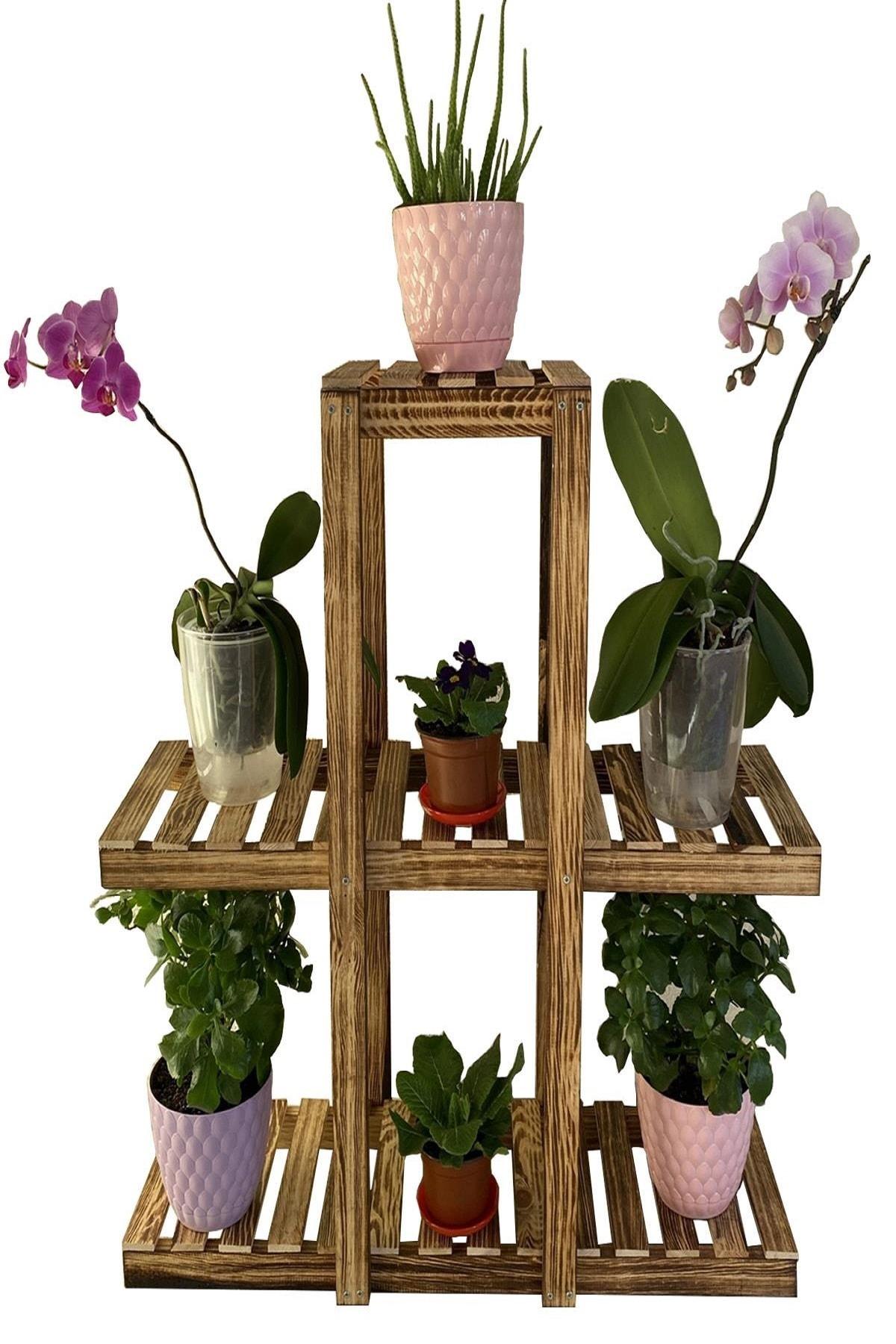 3 Katlı 7 Bölmeli Dekoratif Doğal Ahşap Çiçeklik Bahçe-balkon Saksı Standı