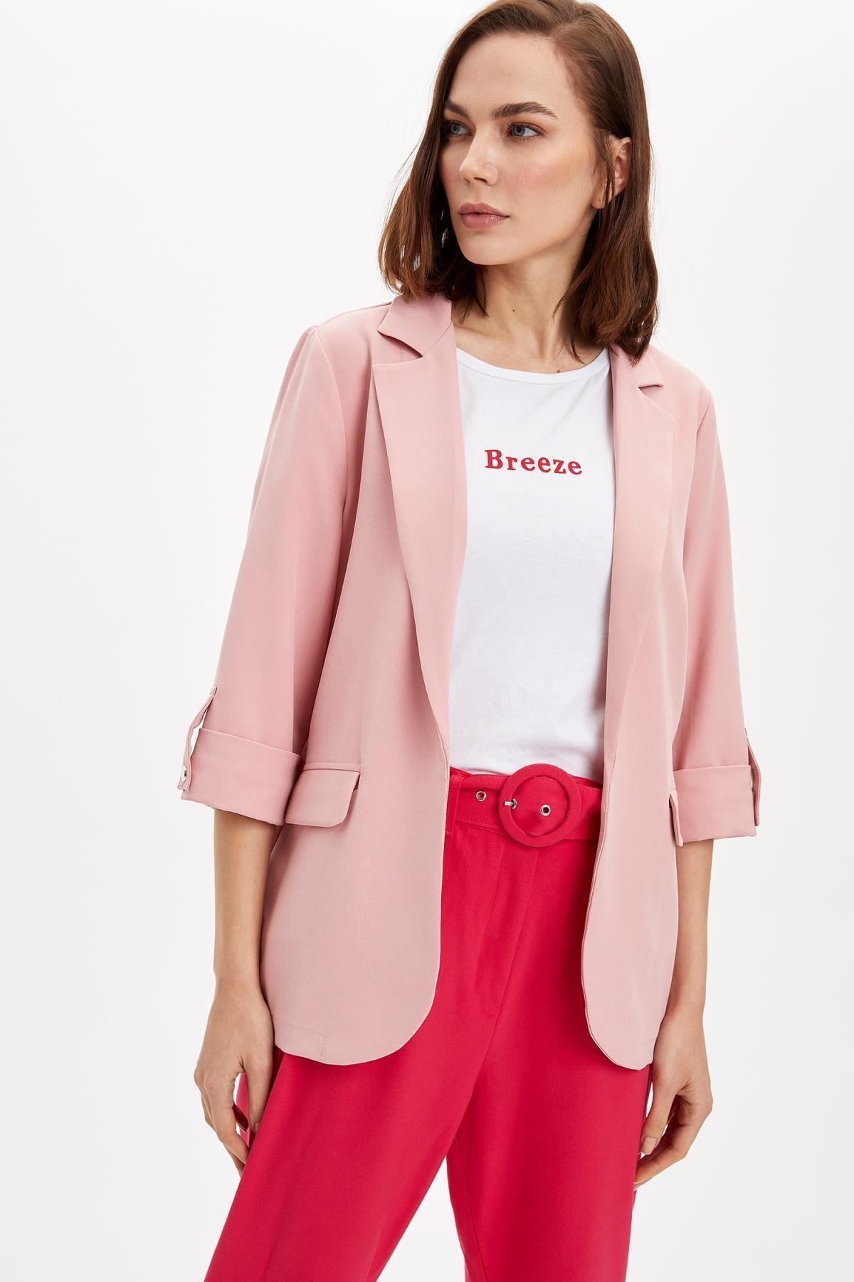 Kadın Pembe Regular Fit Basic Blazer Ceket N1286AZ.20SP.PN56