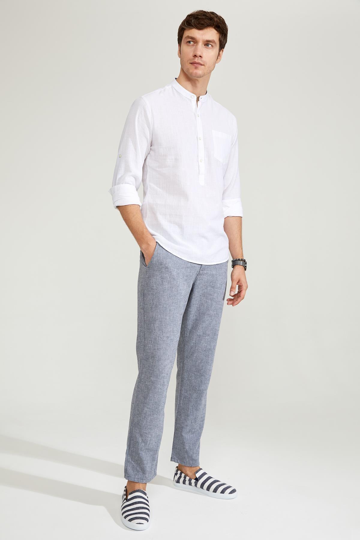 Relax Fit Beli Bağcıklı Keten Pantolon