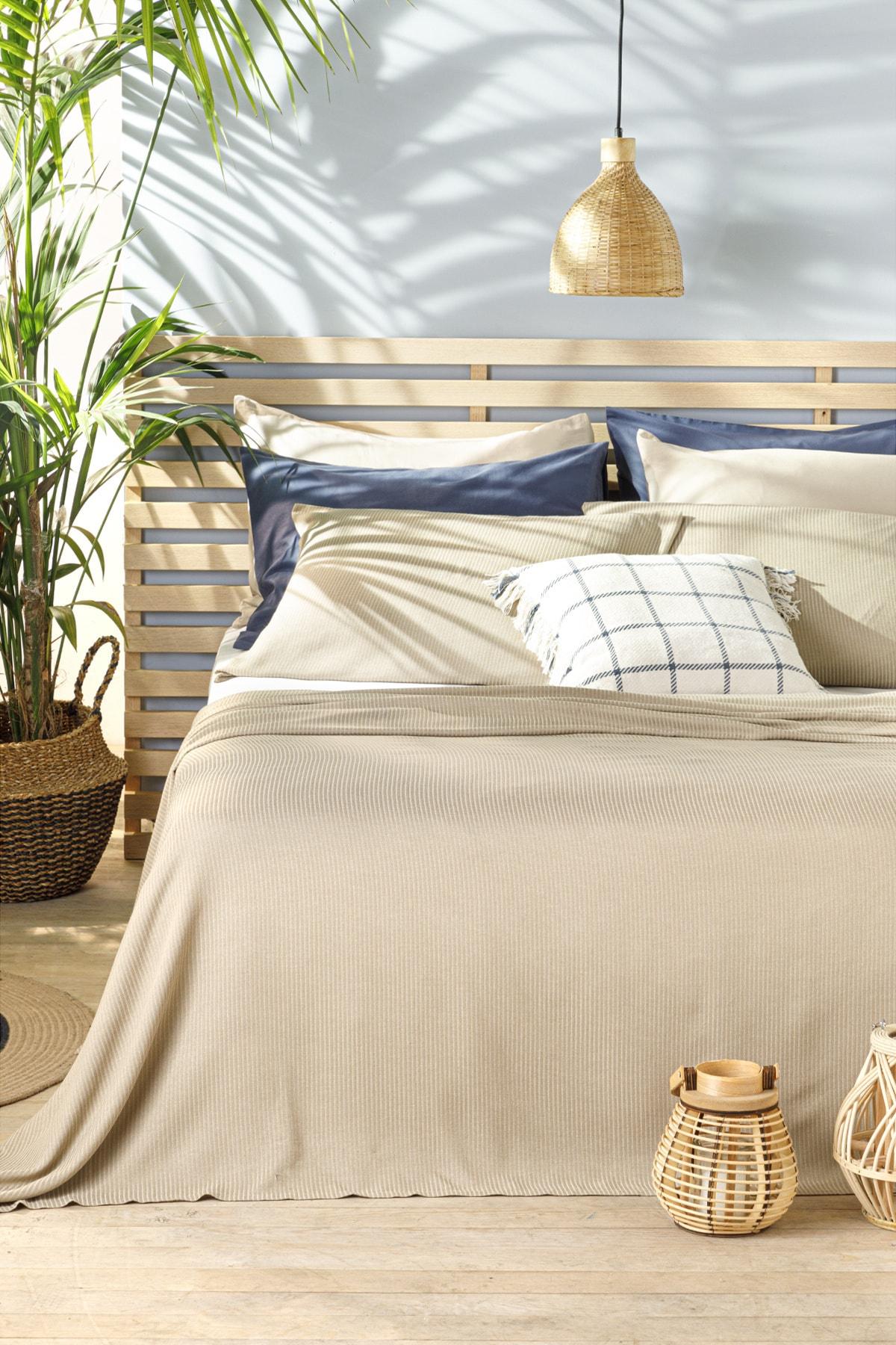 Cool Stripe Soft Touch King Size Pike Seti 220x240 cm Bej