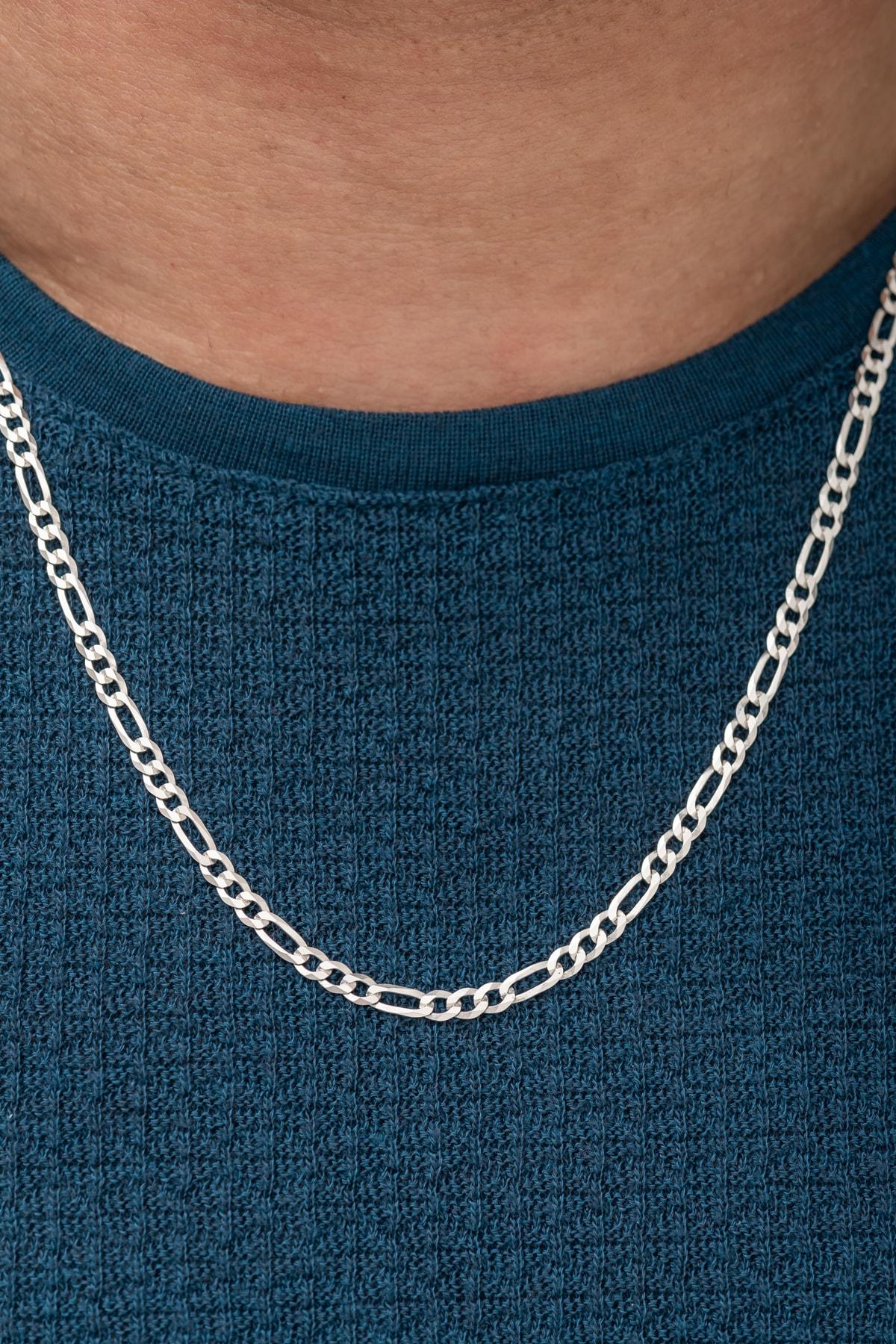 Erkek Figaro 925 Ayar Gümüş Zincir 55 cm Dbse2012