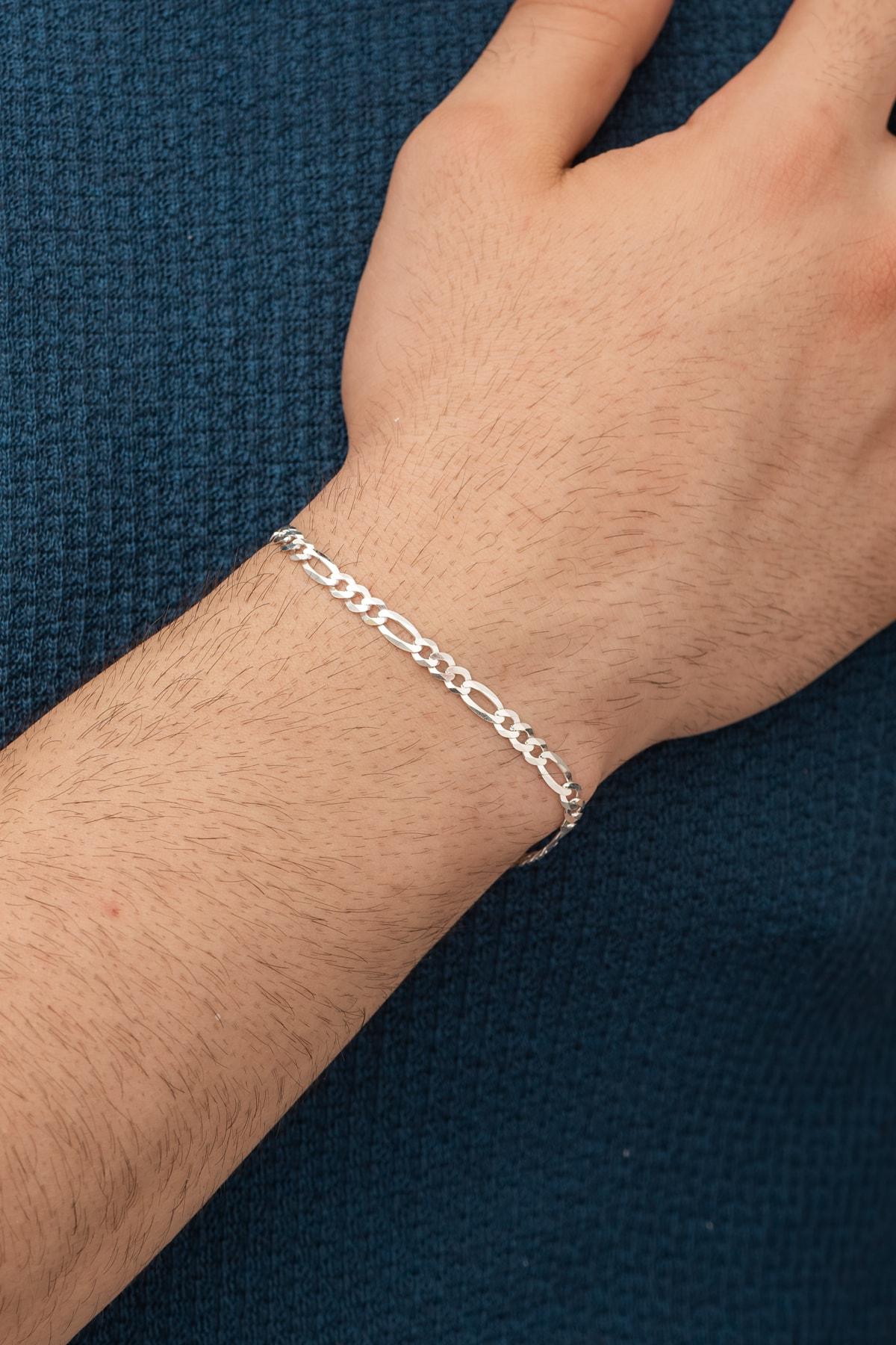 925 Ayar Figaro Erkek Gümüş Zincir Bileklik Dbse4006