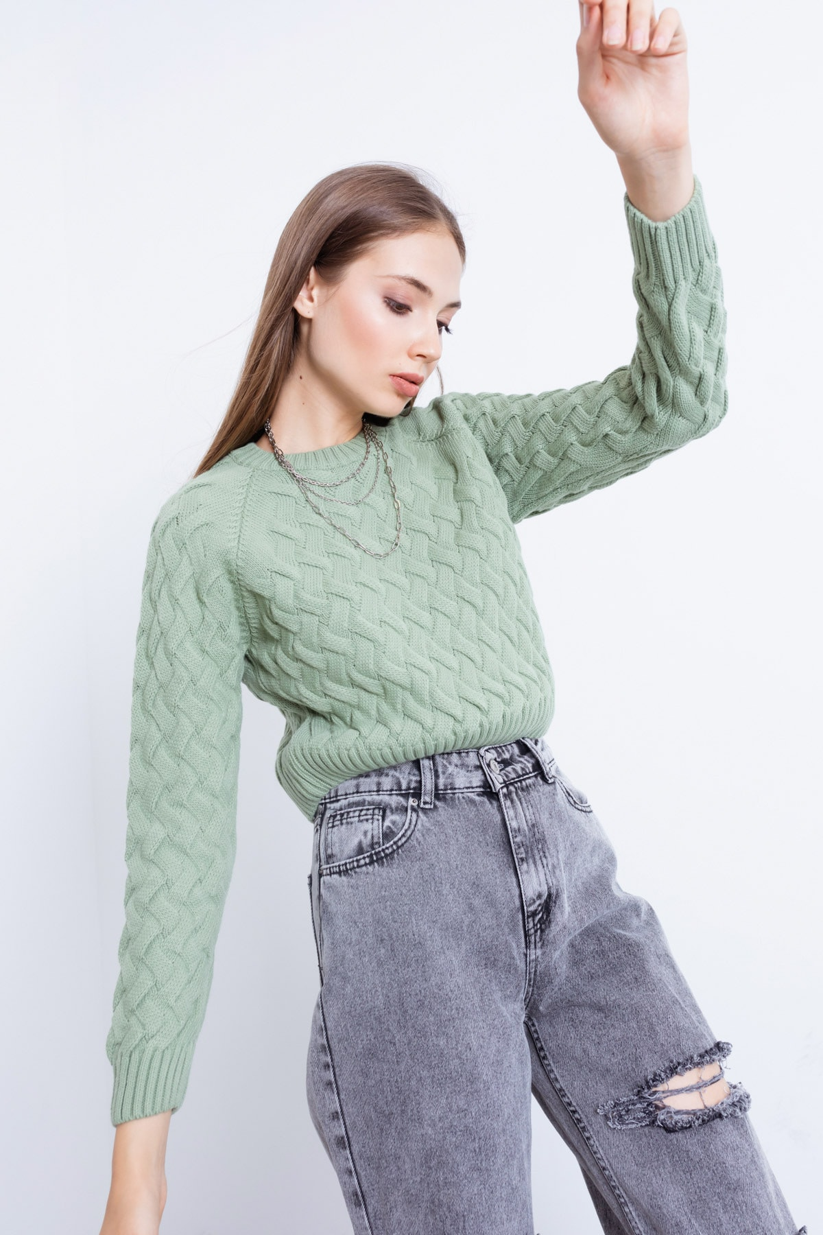 Kadın Mint Yeşili Desenli Crop Kazak