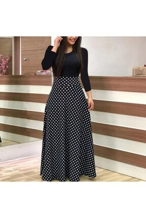 Uzun Kol Puanlı Maxi Elbise Siyah 1488602