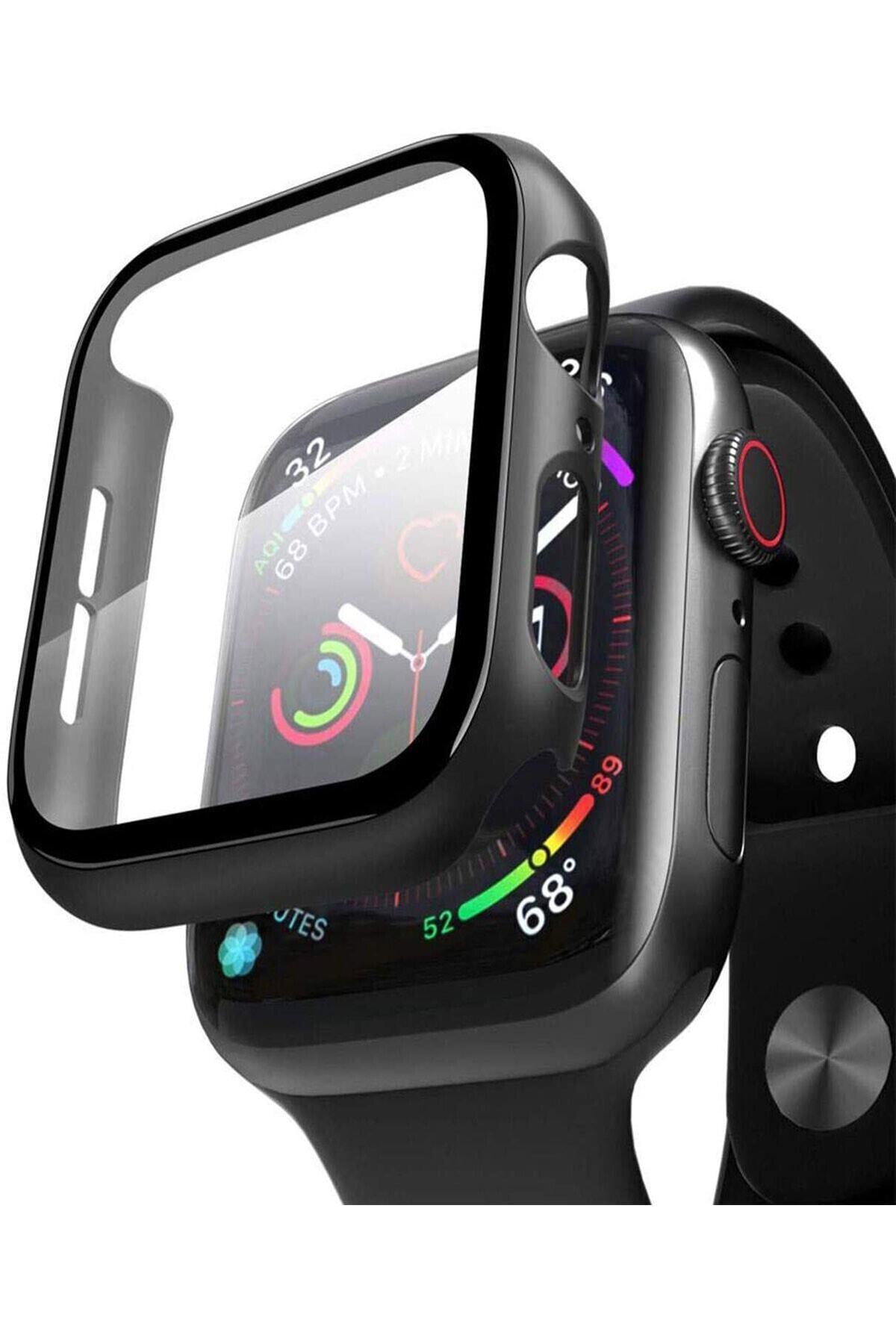Apple Watch 44mm Uyumlu  Tpu Çerçeveli Ekran Koruyuculu Ön Çerçeve Kılıf Hediyeli