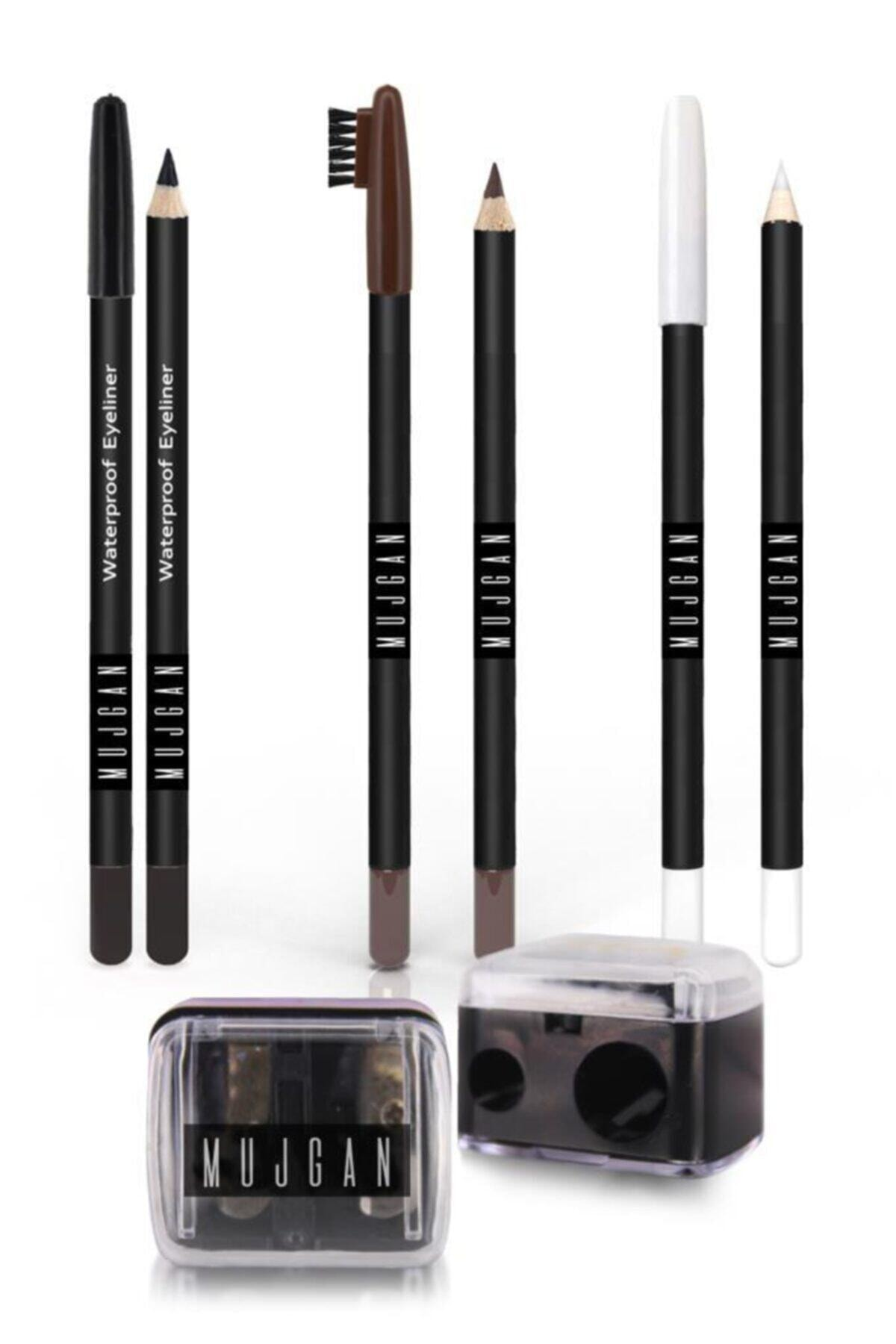 Siyah Göz Kalemi + Beyaz Göz Kalemi + Kahverengi Kaş Kalemi + Açacak 4'lü