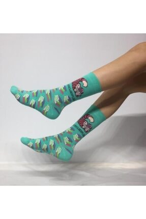 Adel Unisex Kedi & Kitap Desenli Soket (Uzun) Çorap 0
