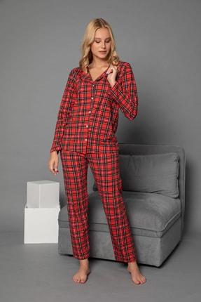 ELİTOL Kadın Desenli Pamuklu Likrali Düğmeli Pijama Takim 2