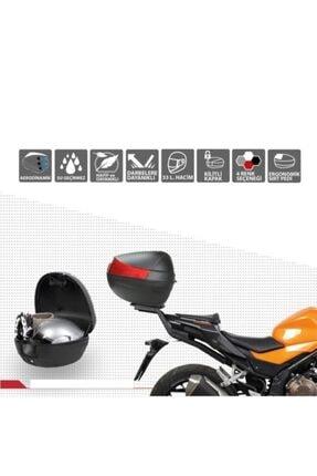 MEFATECH Motosiklet Arka Çanta Topcase Kızaklı Ful Aparatlı Mefa Tech Mf33 33lt Siyah Renk Çanta 1