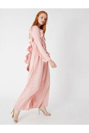 Kadın Saten Uzun Kollu Volanli Uzun Elbise 0YAK88543CW