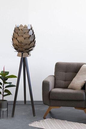 3D SERGİ Dekoratif Ahşap Kozalak Lambader Kilim Desenli / Koyu Kahve Ayak 0