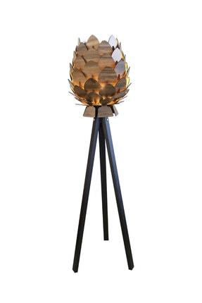3D SERGİ Dekoratif Ahşap Kozalak Lambader Kilim Desenli / Koyu Kahve Ayak 3