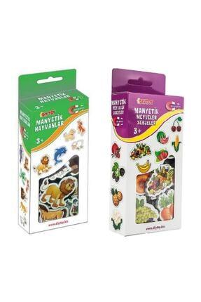 DF Toys 2'li Manyetik Hayvanlar - Meyveler Ve Sebzeler Magnet 0
