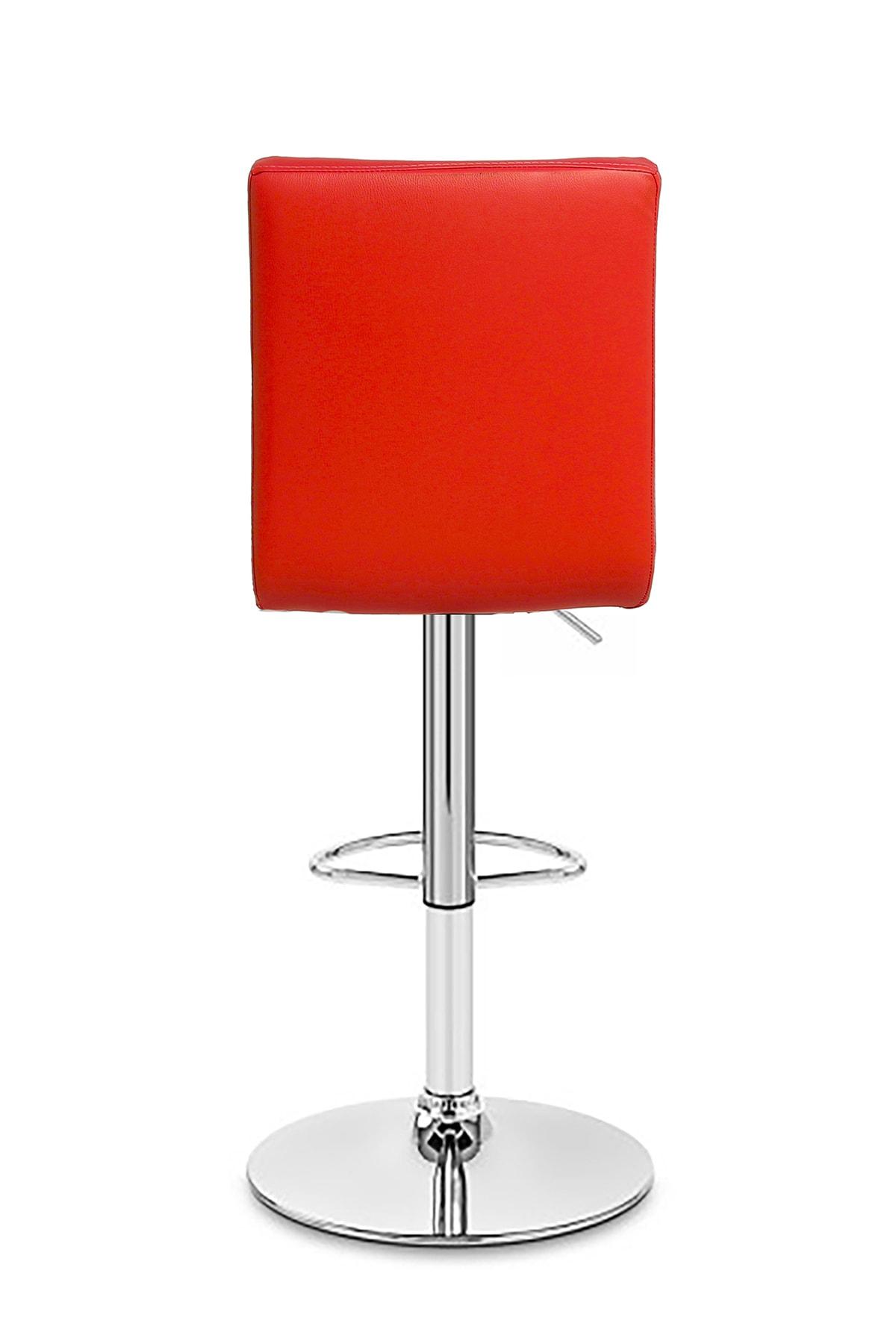 Seduna Duru Base Kırmızı Bar Koltuğu Metal Ayaklı   Bar Tabure 3