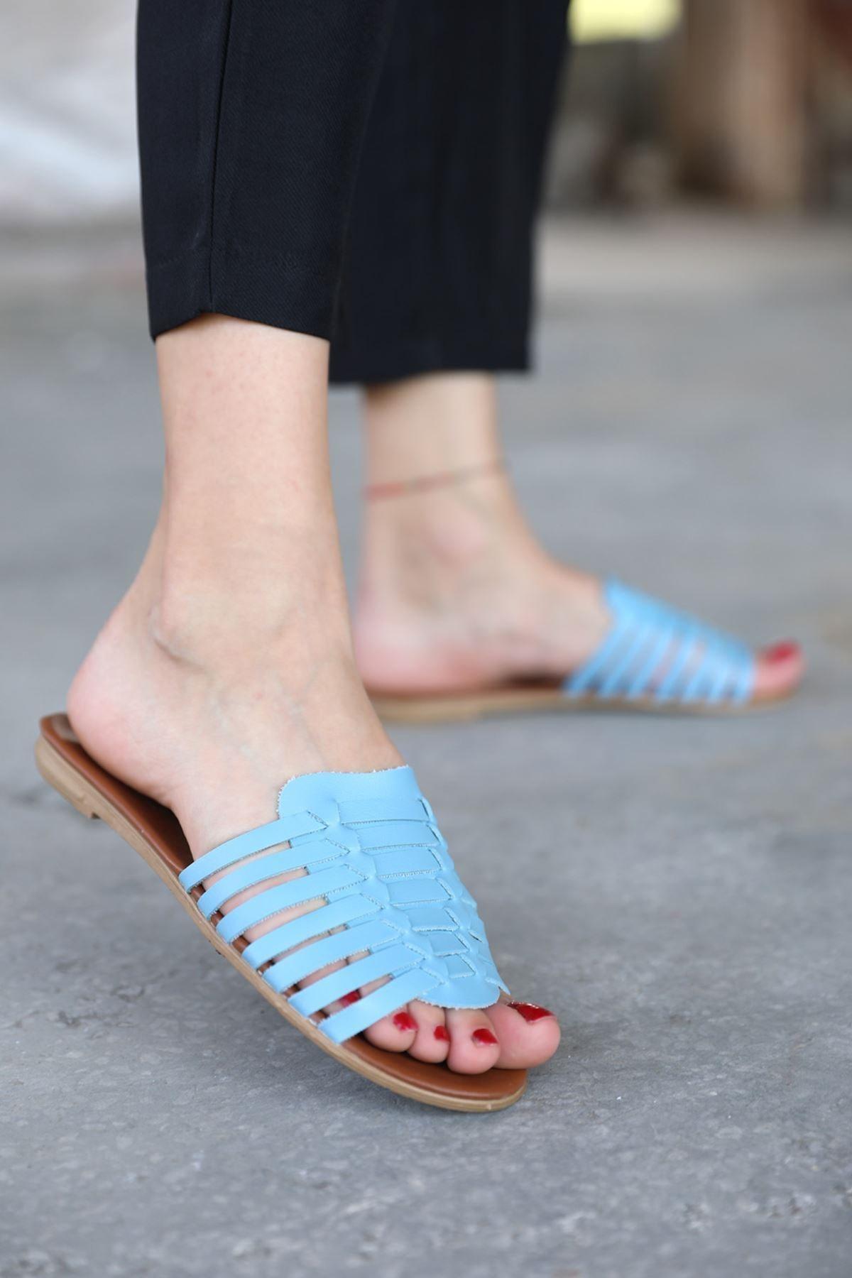 metropol tekstil Kadın Mavi Biye Detaylı Terlik Od-60