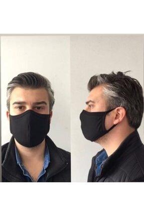 AYD UNDERWEAR Unisex Siyah 4'Lü  Pamuklu Çift Katlı Yıkanabilir Maske 1