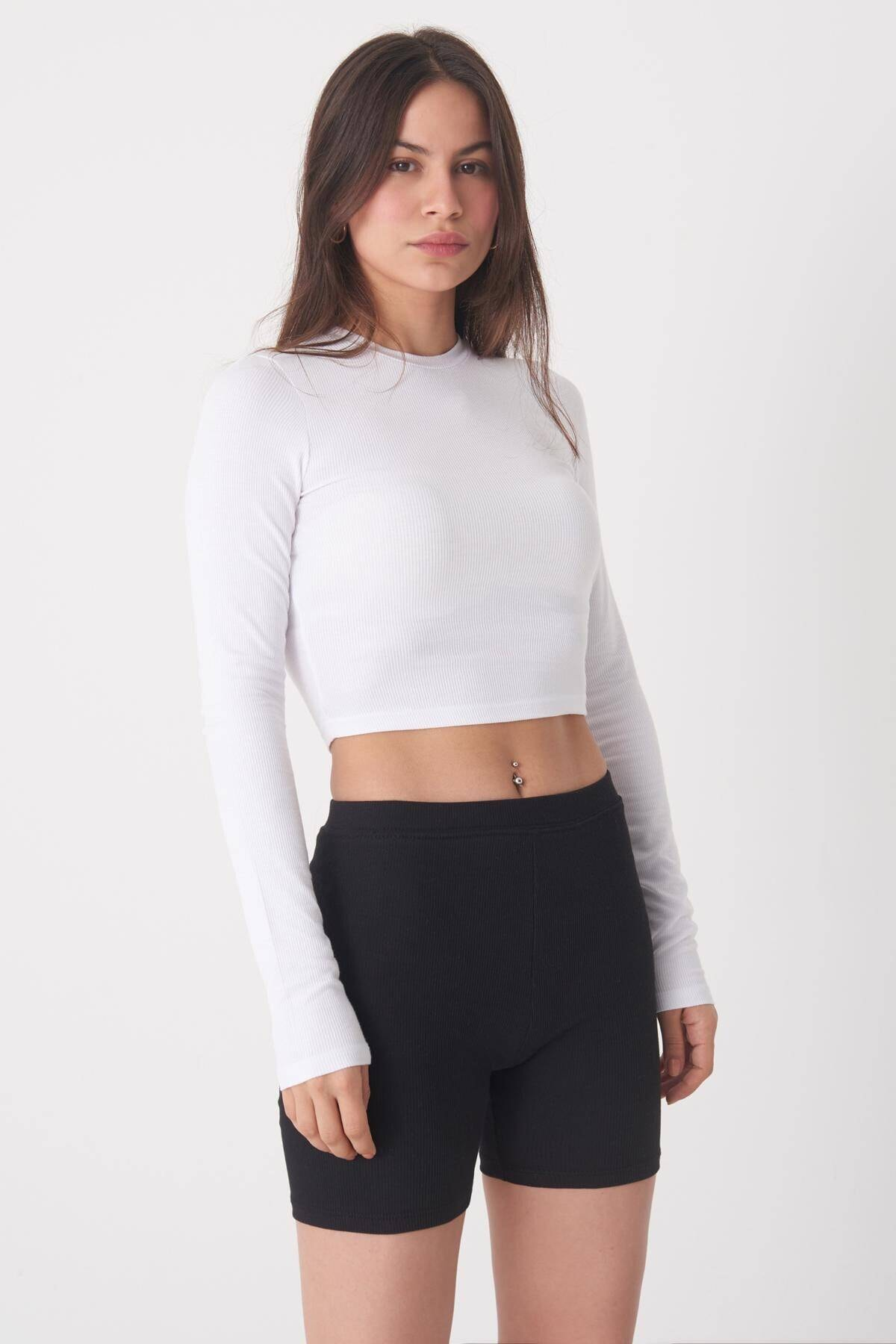 Addax Kadın Beyaz Uzun Kollu Bluz P1017 - K12 ADX-0000022662 4