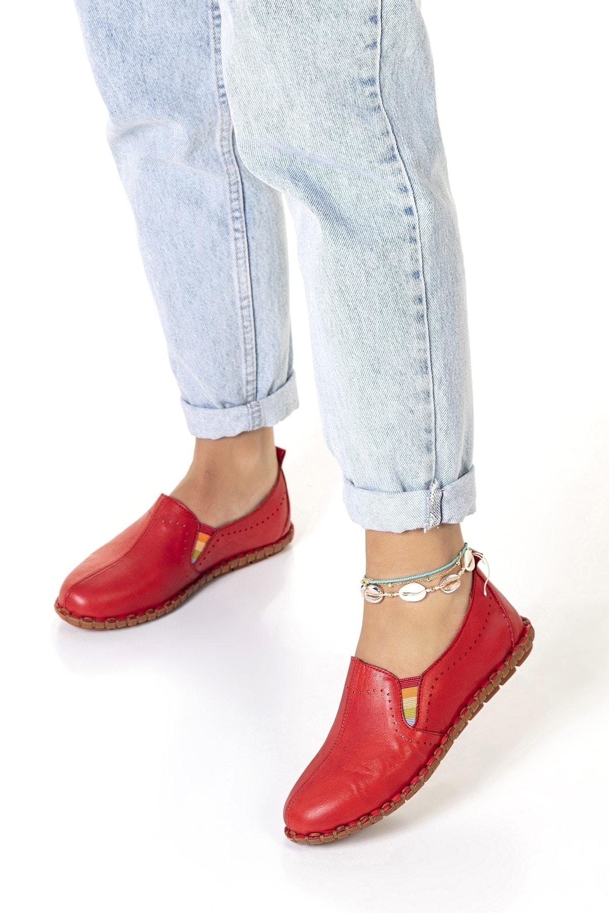 Vita Shoes Kadın Kırmızı Hakiki Deri El Yapımı Ayakkabı