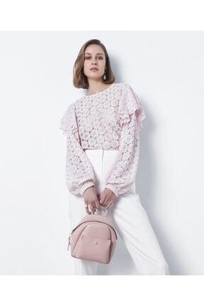 İpekyol Kadın Pembe Fırfır Şeritli Dantel Bluz 2