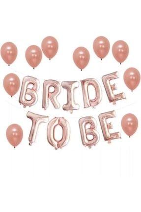 "Deniz Party Store Rose Gold Bride To Be Folyo 10'lu Balon Seti 16""inç 40 cm 0"