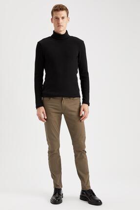 Defacto Erkek Siyah Balıkçı Yaka Uzun Kollu Slim Fit Tişört 1